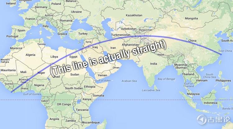 地球上最长的不经过海洋的直线 straight-line.jpg